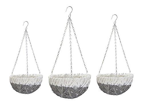 Decoline Blumenampel mit Einsatz grau - rund 3 Stück - S, M und L