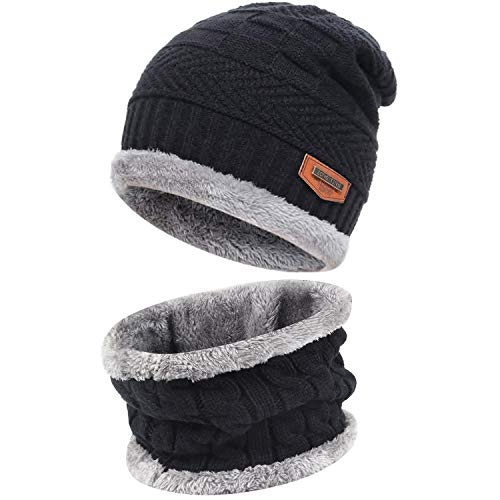 Men and Women Winter Beanie Hat Scarf Set Warm Knit Hat Thick Fleece Lined Winter Cap Neck Warmer for Men Women Black