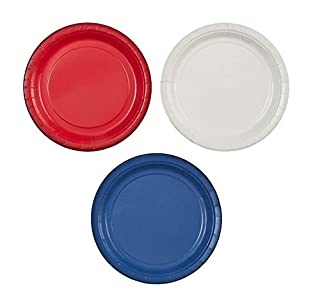 """Party Dimensions 7"""" Paper Plate Bundle: Red, White & Blue - 72 Plates Total (B071FMYZCY) 