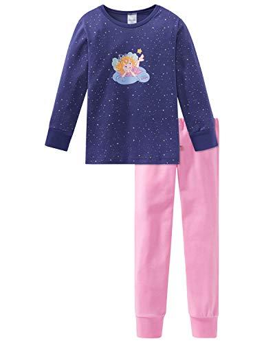 Schiesser Mädchen Prinzessin Lillifee Md Anzug lang Zweiteiliger Schlafanzug, Blau (Nachtblau 804), 98