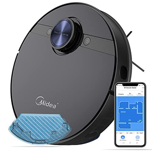 Midea Saugroboter mit Wischfunktion,4000PA Roboterstaubsauger Tierhaare Lasernavigation WiFi/App/Alexa,Selbstaufladung 2-in-1 wisch und saugroboter für Hartböden und Teppich(Schwarz)