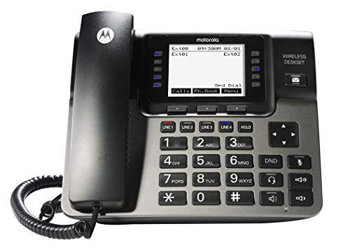 Motorola ML1100 DECT 6.0 Expandable 4-line Business Phone System with Voicemail, Digital Receptionist and Music on Hold, Black