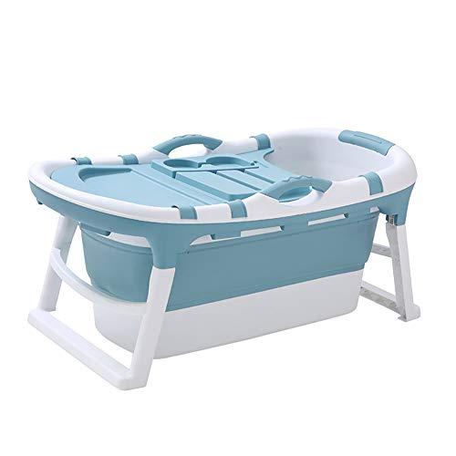 ZLMI Mobile Badewanne Erwachsene mit Deckel, 121x 63x 54 cm Großes Faltbare schwanbad Mobile dusche badezuber für Familienbad SPA Baby Dusche,Light Blue