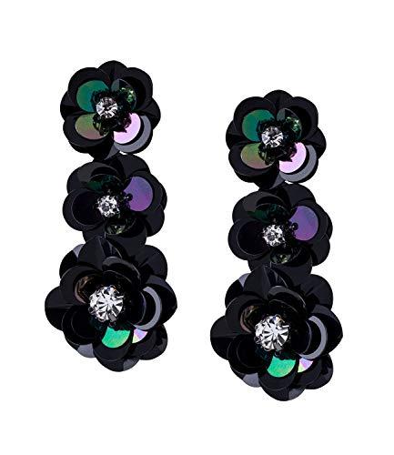 SIX Damenohrringe, Ohrhänger, Blumen, Pailetten, Blüten, Strasssteine, schwarz (784-156)