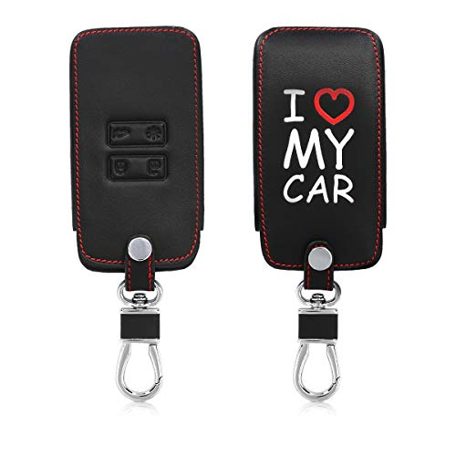 kwmobile Autoschlüssel Hülle für Renault - Kunstleder Schutzhülle Schlüsselhülle Cover für Renault 4-Tasten Smartkey Autoschlüssel (nur Keyless Go) - I Love My car Design Weiß Rot Schwarz