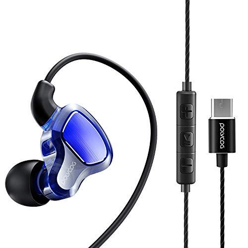 Ebogor POLVCDG D6T Círculo de Doble Movimiento de Interfaz USB-C/Type-C en Auricular estéreo con Cable Aleatorio para XIAOMI/OPPO/Huawei/Vivo, versión de sintonización (Negro)