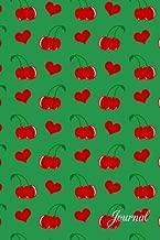 Journal: Green cherry hearts notebook