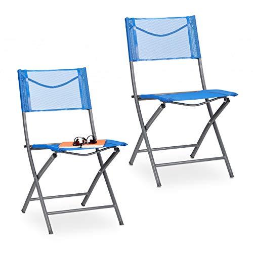 Relaxdays Gartenstuhl 2er Set, Klappstuhl für Garten, Balkon, Terrasse, Metall Campingstuhl bis 120kg, wetterfest, blau