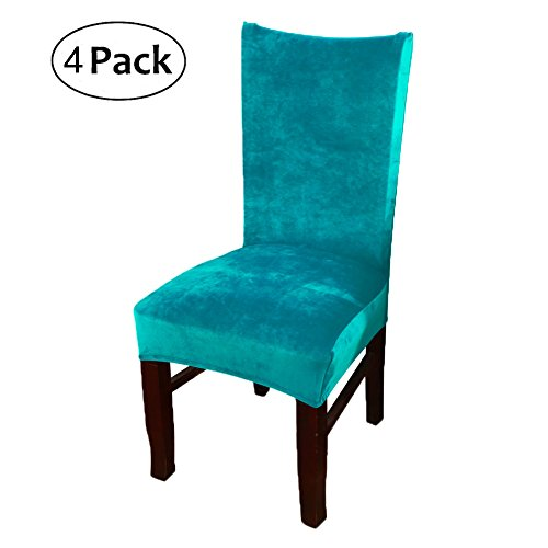 smiry Stretch Chair Covers for Dining Room, Peacock Blue Set of 4 Velvet Dining Chair Slipcovers