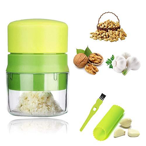 Momou Knoblauchpresse Knoblauchschneider Garlic Press mit Silikon Knoblauchschäler und Reinigungsbürste praktischer Küchenhelfer