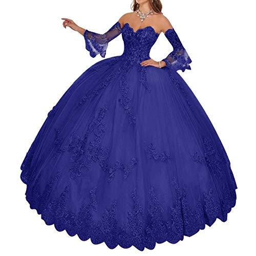 HUINI Damen Brautkleider Standesamt Prinzessin Quinceanera Kleider Ballkleider A-Linie mit Spitzen Abendkleider Königsblau 52