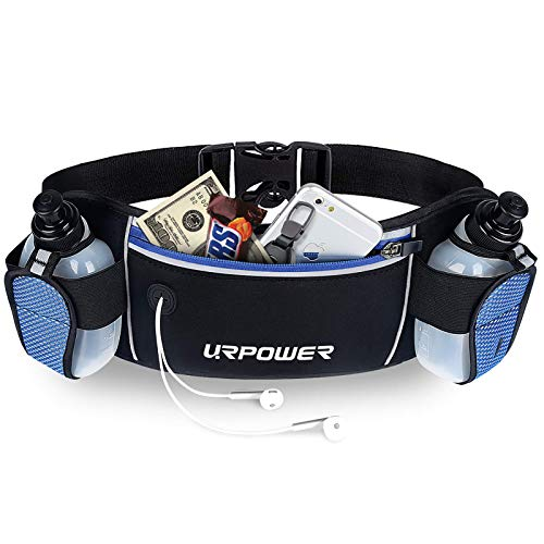 URPOWER Running Belt Multifunctional Zipper Pockets Water Resistant Waist Bag, With 2 Water Bottles Waist Pack for Running Hiking Cycling Climbing. And for 6 inches Smartphones