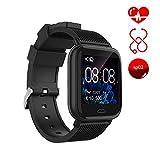 Ayete Smartwatch Fitness Tracker con frecuencia cardíaca Monitoreo de la presión Arterial Salud Deporte Reloj Impermeable IP67 Reloj de Pulsera Cámara remota Pulsera Inteligente (Negro)