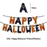 """TEDORU XXL Deko Set für Halloween zum Gruseln   """"Happy Halloween"""" Folienluftballons + 3 XXL Grusel-Folienluftballons + 30 Luftballons mit Motiven + 20 Plastik Spinnen Tischdeko + Leucht-Spinnennetz - 2"""