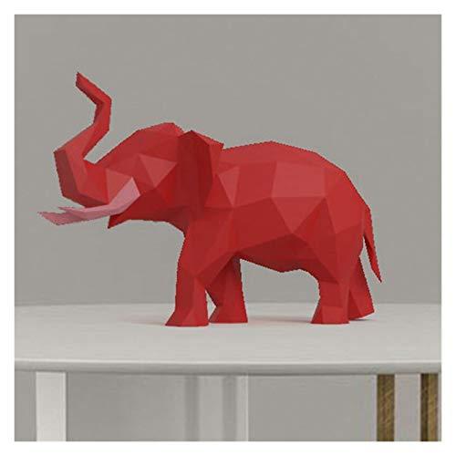 Bfrdollf Modelo 3D de Papel Hecho a Mano Rojo pequeño Elefante de Origami Animal Bricolaje Creativo Craft Puzzles Juguete Educativo de los niños Escritorio Decoración (Color : Red)