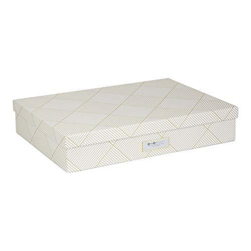 Bigso Box of Sweden Dokumentenbox für Unterlagen im A3-Format – Schreibtischablage mit Deckel und Griff – Aufbewahrungsbox aus Faserplatte und Papier – Gold und weiß