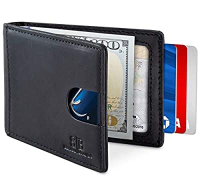 Travel Wallet RFID Blocking Bifold Slim Genuine Leather Thin Minimalist Front Pocket Wallets for Men with Money Clip - Made From Full Grain Leather (Charcoal Black 1.0)