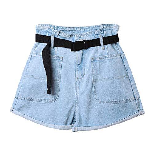 Zestion Pantaloncini di Jeans da Donna con Tasche Larghe lavate a Vita Alta Pantaloncini a Gamba Larga Sottili con Bottoni e Chiusura con Cerniera Medium