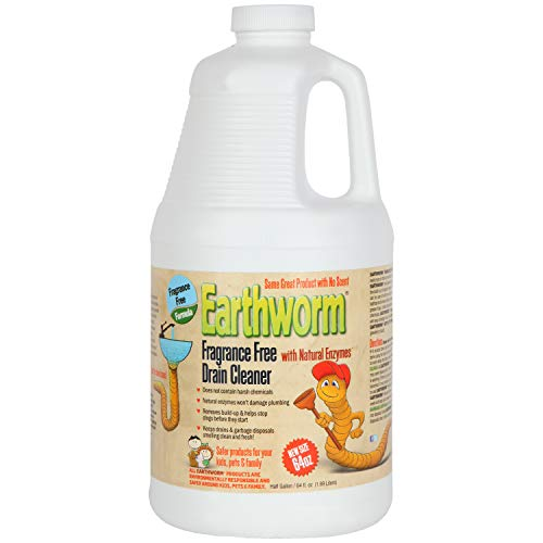 Earthworm Fragrance Free Drain Cleaner - Drain Opener - Natural Enzymes, Environmentally Responsible, Safer for Pets and Kids - 1 Half Gallon, 64 oz