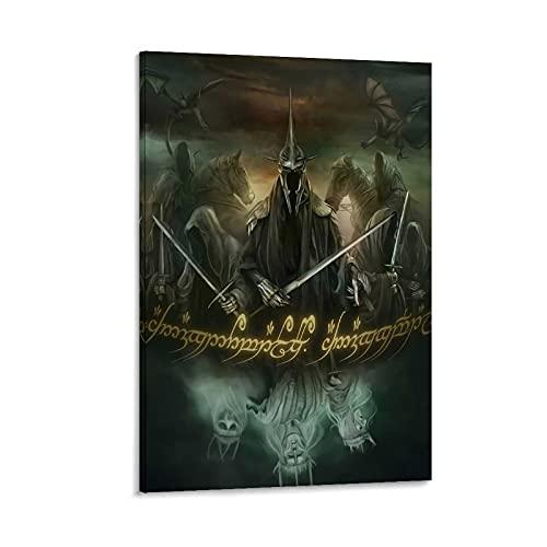 DRAGON VINES Póster de The Lord of the Rings Nazgul Ringwraith Art Poster para decoración de pared de dormitorio universitario, 50 x 75 cm