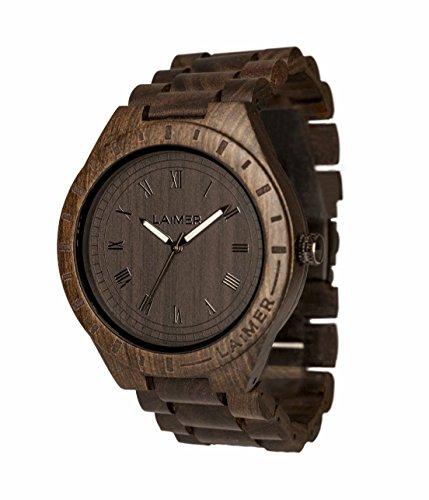 LAiMER Holzuhr - Armbanduhr Black Edition aus Edelholz - Holz - Uhr- analoge Herren Quarzuhr mit Leuchtzeiger - Ø 50mm - Zero Waste Verpackung aus Naturholz
