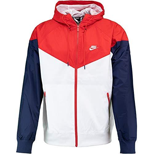 Nike - Chaqueta cortavientos con logotipo pequeño Blanco/rojo/azul marino. L