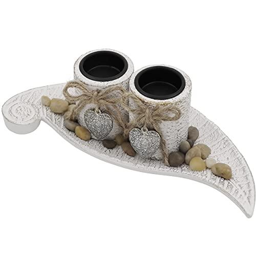 Soyizom Portavelas de madera con diseño de corazón, vintage, rústico, decorativo, vela francesa, soporte de pie para decoración de mesa, para interiores y exteriores