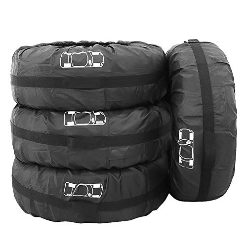 NSGJUYT Conjunto de Cobertura de neumáticos de 4 Coches Tapa de neumáticos Bolsa de neumáticos Cubierta de neumático de Repuesto a Prueba de Polvo Protección Solar Coche