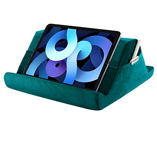 MoKo Tablet Pillow Holder, Velvet Pillow for iPad Tablet Up to 12.9', Multi-Angle Soft Tablet Stand Lap Pillow for eReaders, Fit Air 4 10.9, iPad 10.2 2020, iPad Pro 11/12.9, Galaxy Tab S7, Turquoise