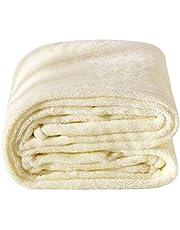 Deconovo 毛布 もうふ シングル 夏用 冷房 敷き毛布 フランネル エアコン対策 大判 マイクロファイバー 洗える ふわふわ 140×200cm ベージュ