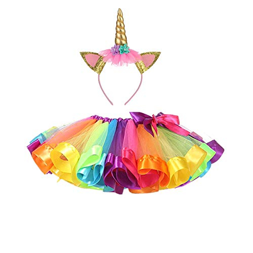 DIXIUZA Meisjes Regenboog Tutu Rok, Peuter Prinses Dress Up Kostuum Set met Eenhoorn Hoofdband voor Dance Party Carnaval