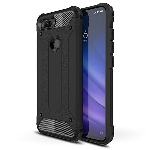 LXHGrowH Funda Xiaomi Mi 8 Lite, Fundas 2in1 Dual Layer Anti-Shock 360° Full Body Protección TPU Silicona Gel Bumper y Duro PC Armadura Carcasa para Xiaomi Mi 8 Lite, Negro