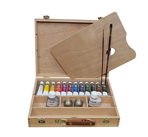 MIR Maletin Acrílico Academia nº4. 12 Colores acrílicos + 2 Pinceles + Paleta de Madera + Aceitera Doble + Carta e Colores + 2 Botellas de Auxiliares de 7