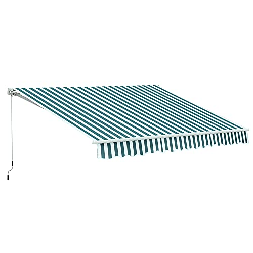Outsunny Tenda da Sole a Bracci per Esterno Regolazione con Manovella, Metallo e Poliestere, 295x250cm Verde e Bianco