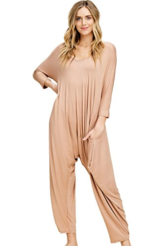 Annabelle Women's Long Sleeve Comfy Harem Jumpsuit Romper with Pockets Java Large J8002