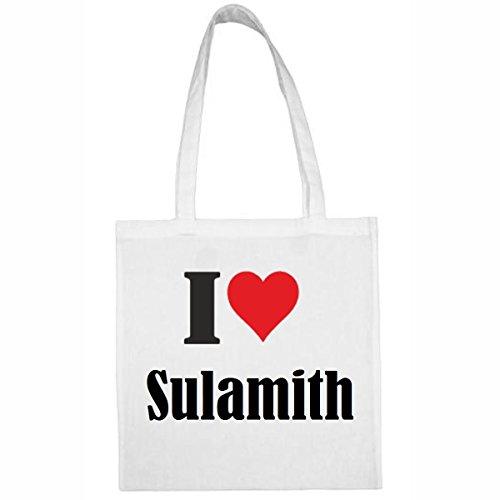 Tasche I Love Sulamith Größe 38x42 Farbe Weiss Druck Schwarz