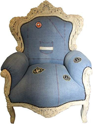 Casa Padrino Baroque Chair King Jeans Style/Antique Cream 85 x 85 x H. 120 cm - Luxury Baroque Furniture