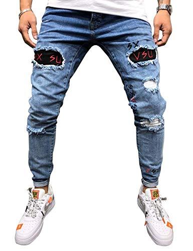 Vawal Herren Slim Fit Strecken Skinny Zerrissen Denim Jeans Destroyed Tapered Bein Hosen (S, Bleu)