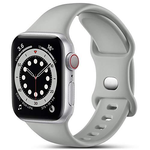 CeMiKa Cinturino Compatibile per Apple Watch Cinturino 38mm 42mm 40mm 44mm, Silicone Cinturini di Ricambio Compatibile con iWatch SE Series 6 5 4 3 2 1, 38mm/40mm-S/M, Grigio
