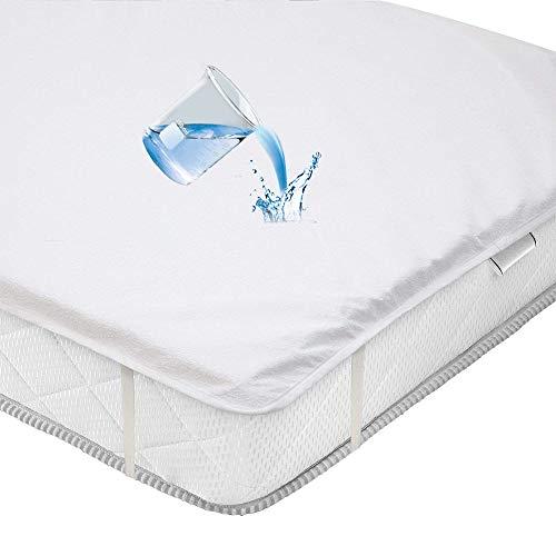 ABUKJM Protector colchon Impermeable de Felpa de algodón, Protector de colchon de sábana antiácaros,con Vendaje de Elasticidad, para sobrecolchon (90x200cm)