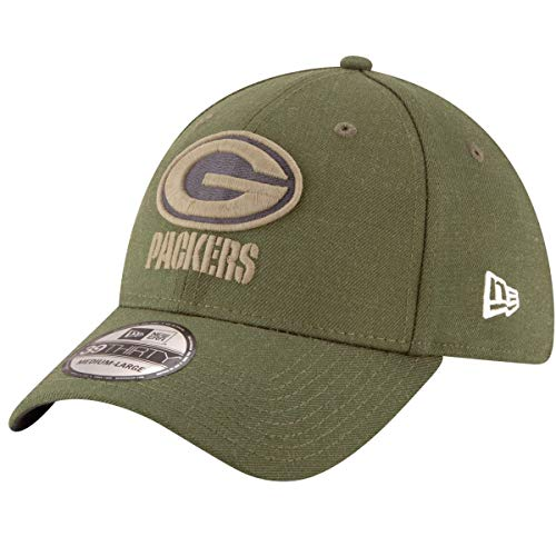 New Era Green Bay Packers 39thirty Stretch Cap - On Field 2018 Salute to Service - Green - S-M (6 3/8-7 1/4)