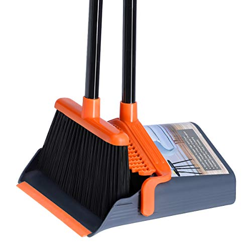 LEAVINSKY Broom and Dustpan Set, Broom Dustpan with 40'/52' Long Handle, Comb Teeth and Rubber Lip Design, Upright Broom and Dustpan Set for Home Room Office Lobby Floor Use,Orange