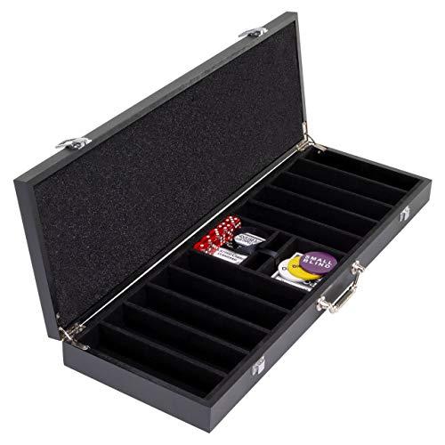 """Holz-Pokerkoffer """"Wooden Black Edition"""" leer für bis zu 500 Chips Poker-Set 2 Decks Kunststoff-Karten Schwarz Texas Holdem viel Zubehör"""