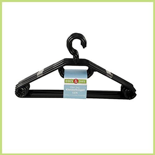 Kesper 16810 - Grucce Appendiabiti in Plastica, Confezione da 10, Colore Nero