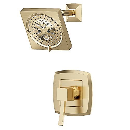 Bathroom Shower Faucet Set with Rough-in Valve Brushed Gold Brass, DAYONE Single Handle Shower Only Fixtures with Single Function Shower Trim Kit, DAY-150BTG