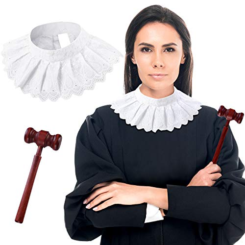 2 Pieces Lace False Collar Judge Choker Blouse Collar and Judge Wooden Gavel for Halloween Judge Cosplay Party Favors