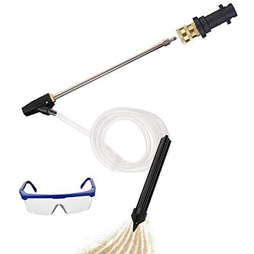 Pressure Washer Sandblasting Kit - 3200 PSI Sand Blaster Gun Attachment, 2 in 1 Quick Connector with Karcher Adaptor