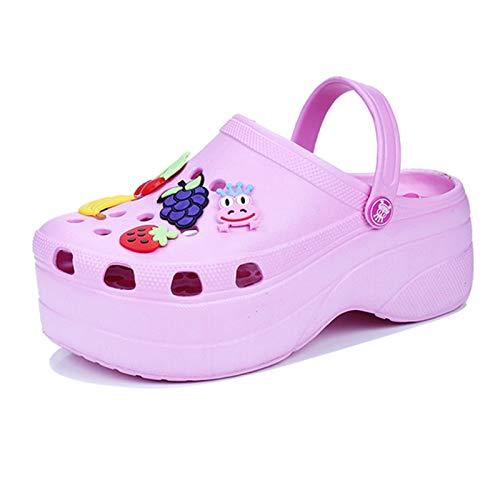 XYJP Sandalias De Verano para Mujer Zapatos Baotou Huecos Zapatos De Playa De Suela Gruesa Cuñas Y Sandalias De Playa con Punta Completa Zapatillas De Playa Ligeras pink-40