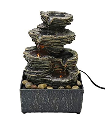 """Nature's Mark 9"""" Cascading Tabletop Water Fountain with Natural River Rocks and LED Lights (Power Cord Attached)"""