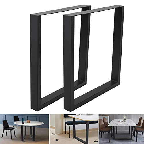 """Set of 2 Industrial Steel Table 30""""x28"""" Dining Table Legs 30""""Height 28""""Wide Office Table Legs Computer Desk Legs Steel Bench Legs Country Style Table Legs DIY Furniture Legs (30""""H×28""""W, Square Shape)"""